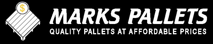 Marks Pallets Company Logo - White Text, White and Gold Logo, Retina